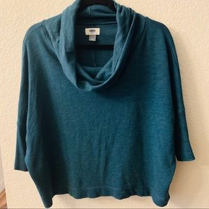 🍁 Old Navy: Cowl Neck Drop Shoulder Teal Sweater